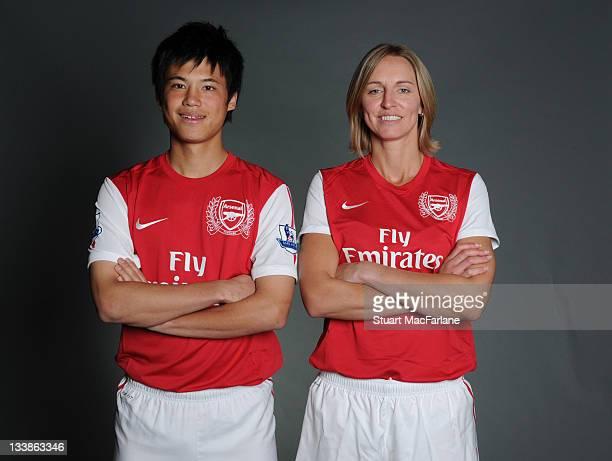 Ryo Miyaichi of Arsenal and Faye White of Arsenal Ladies during a photo shoot at London Colney on November 03 2011 in St Albans England