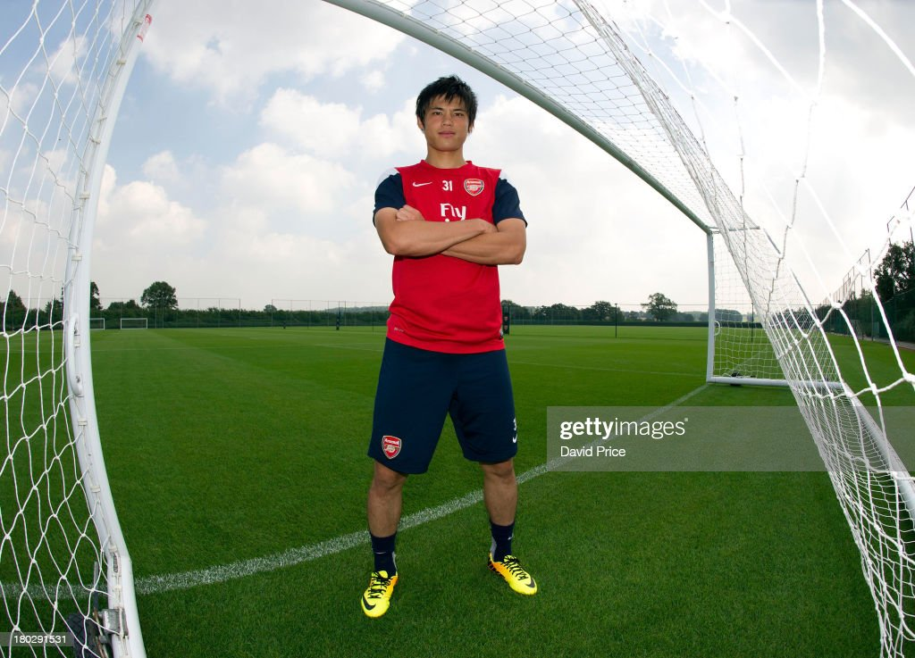Ryo Miyaichi of Arsenal at London Colney on September 4, 2013 in St Albans, England.