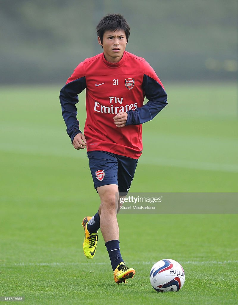 Ryo Miyaichi of Arsenal during a training session at London Colney on September 24, 2013 in St Albans, England.