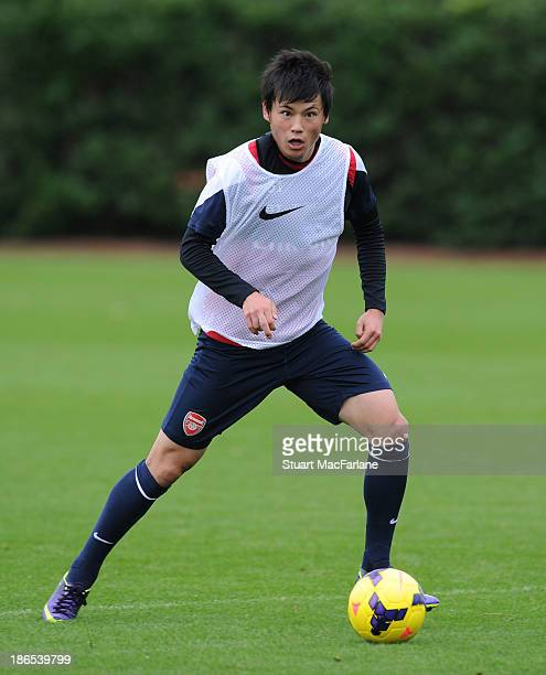 Ryo Miyaichi of Arsenal during a training session at London Colney on November 01 2013 in St Albans England