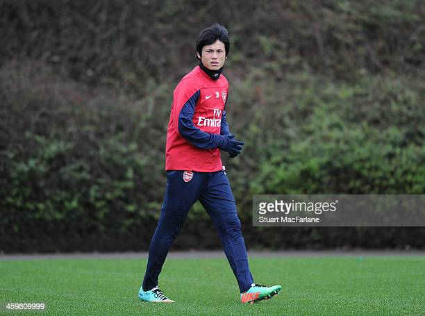 Ryo Miyaichi of Arsenal during a training session at London Colney on December 31 2013 in St Albans England