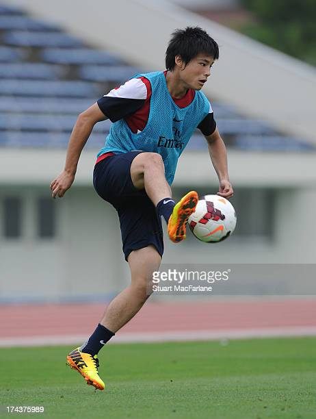 Ryo Miyaichi of Arsenal during a training session in Saitama Japan for the club's preseason Asian tour at the Saitama Stadium on July 25 2013 in...