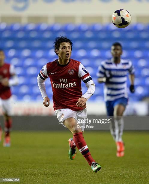 Ryo Miyaichi of Arsenal during the Barclays U21 Premier League match between Reading U21 and Arsenal U21 at Madejski Stadium on February 17 2014 in...