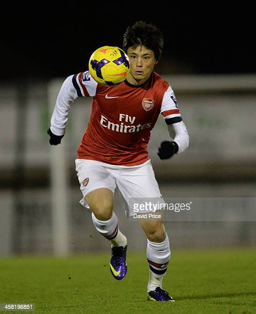 Ryo Miyaichi of Arsenal during the match between Arsenal U21 and Manchester United U21 at Meadow Park on December 20 2013 in Borehamwood England