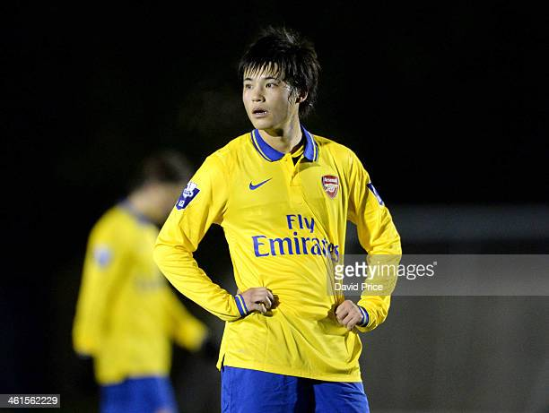 Ryo Miyaichi of Arsenal during the match between Fulham U21 and Arsenal U21 in the U21 League Cup on January 9 2014 in London England