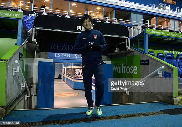 Ryo Miyaichi of Arsenal walks out to warm up prior to the Barclays U21 Premier League match between Reading U21 and Arsenal U21 at Madejski Stadium...