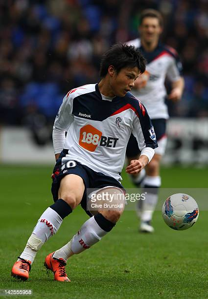 Ryo Miyaichi of Bolton Wanderers in action during the Barclays Premier League match between Bolton Wanderers and Fulham at Reebok Stadium on April 7...