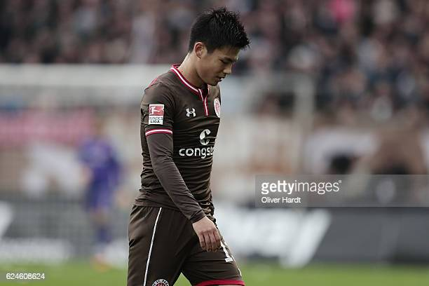 Ryo Miyaichi of Pauli appears frustrated during the Second Bundesliga match between FC St Pauli and Fortuna Duesseldorf at Millerntor Stadium on...