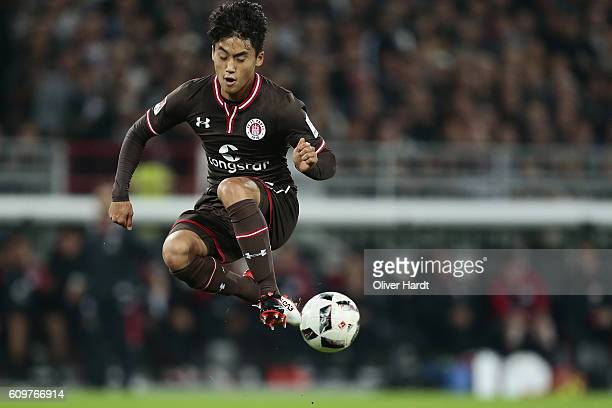 Ryo Miyaichi of Pauli in action during the Second Bundesliga match between FC St Pauli and TSV 1860 Muenchen at Millerntor Stadium on September 22...