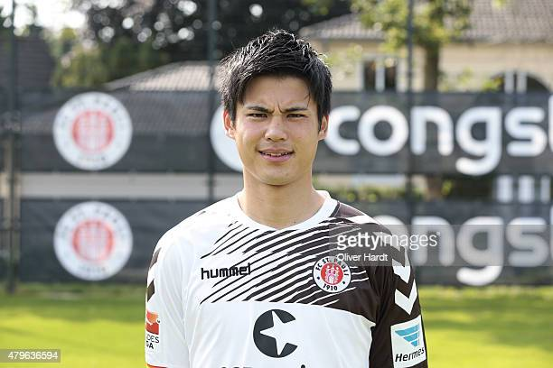 Ryo Miyaichi poses during the FC St Pauli team presentation on July 4 2015 in Hamburg Germany