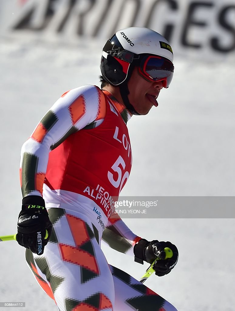 Ryo Sugai of Japan reacts at the finish line during the 8th men's super G event at the FIS Alpine Ski World Cup at the Jeongseon Alpine Centre in Jeongseon county, some 150 kms east of Seoul, on February 7, 2016. The FIS Ski Men's World Cup runs from February 6 to 7 and is the first official test event for the Pyeongchang 2018 Winter Olympics. AFP PHOTO / JUNG YEON-JE / AFP / JUNG YEON-JE