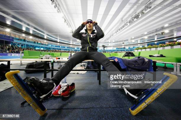 Ryohei Haga of Japan gets ready to compete in the Mens 500m race on day two during the ISU World Cup Speed Skating held at Thialf on November 11 2017...
