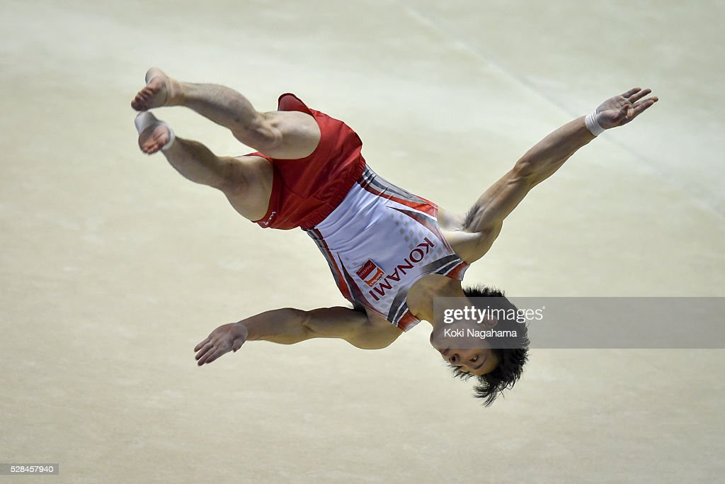 Ryohei Kato competes in the Floor Exercise during the Artistic Gymnastics NHK Trophy at Yoyogi National Gymnasium on May 5, 2016 in Tokyo, Japan.
