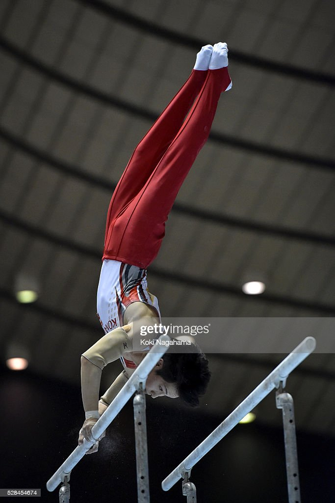 Ryohei Kato competes in the Parallel Bars during the Artistic Gymnastics NHK Trophy at Yoyogi National Gymnasium on May 5, 2016 in Tokyo, Japan.