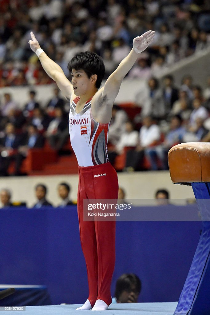 Ryohei Kato competes in the Pommel Horse during the Artistic Gymnastics NHK Trophy at Yoyogi National Gymnasium on May 5, 2016 in Tokyo, Japan.