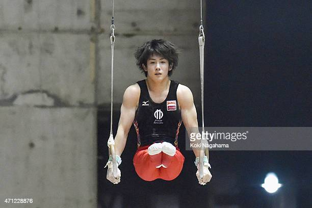 Ryohei Kato competes in the Rings during day three of the All Japan Artistic Gymnastics Individual All Around Championships at Yoyogi National...