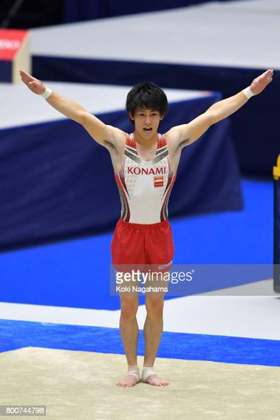Ryohei Kato competes on the floor exercise during Japan National Gymnastics Apparatus Championships at the Takasaki Arena on June 25 2017 in Takasaki...