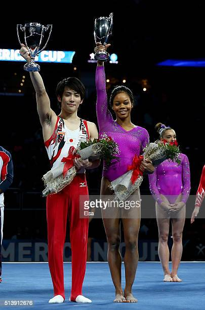 Ryohei Kato of Japan and Gabrielle Douglas of the United States celebrate their win of the the 2016 ATT American Cup on March 5 2016 at Prudential...