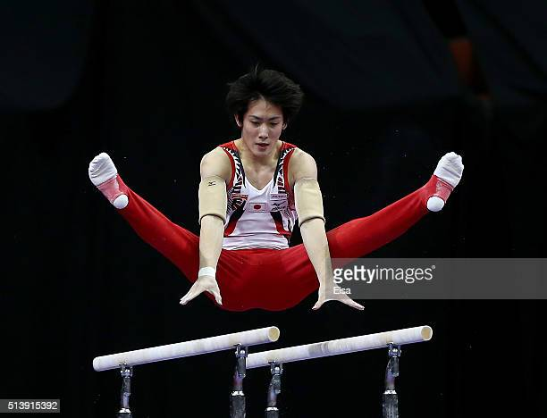 Ryohei Kato of Japan competes on the parallel bars during the 2016 ATT American Cup on March 5 2016 at Prudential Center in Newark New Jersey