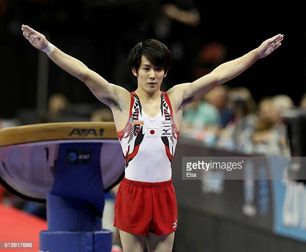 Ryohei Kato of Japan competes on the vault during the 2016 ATT American Cup on March 5 2016 at Prudential Center in Newark New Jersey