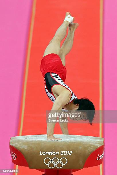Ryohei Kato of Japan competes on the vault in the Artistic Gymnastics Men's Team final on Day 3 of the London 2012 Olympic Games at North Greenwich...