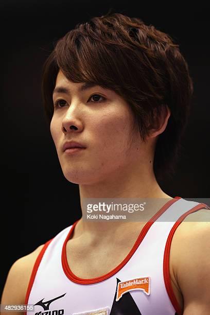 Ryohei Kato of Japan poses on the podium in the Men's All Around Final during Gymnastics Tokyo World Cup 2014 at Tokyo Metropolitan Gymnasium on...