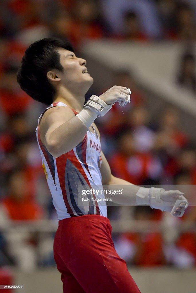Ryohei Kato reacts in the Horizontal Bar during the Artistic Gymnastics NHK Trophy at Yoyogi National Gymnasium on May 5, 2016 in Tokyo, Japan.