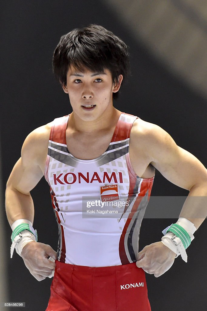 <a gi-track='captionPersonalityLinkClicked' href=/galleries/search?phrase=Ryohei+Kato&family=editorial&specificpeople=9111024 ng-click='$event.stopPropagation()'>Ryohei Kato</a> reacts in the Rings during the Artistic Gymnastics NHK Trophy at Yoyogi National Gymnasium on May 5, 2016 in Tokyo, Japan.
