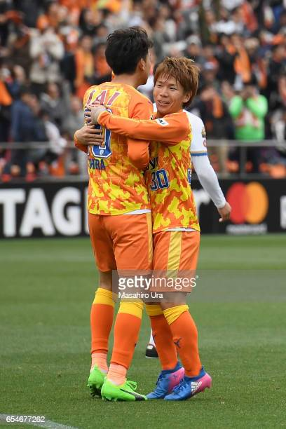 Ryohei Shirasaki of Shimizu SPulse celebrates scoring his side's second goal with his team mate Shota Kaneko during the JLeague J1 match between...