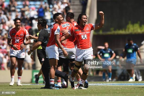 Ryohei Yamanaka of the Sunwolves celebrates victory with team mates after the Super Rugby match between the Sunwolves and the Blues at Prince...