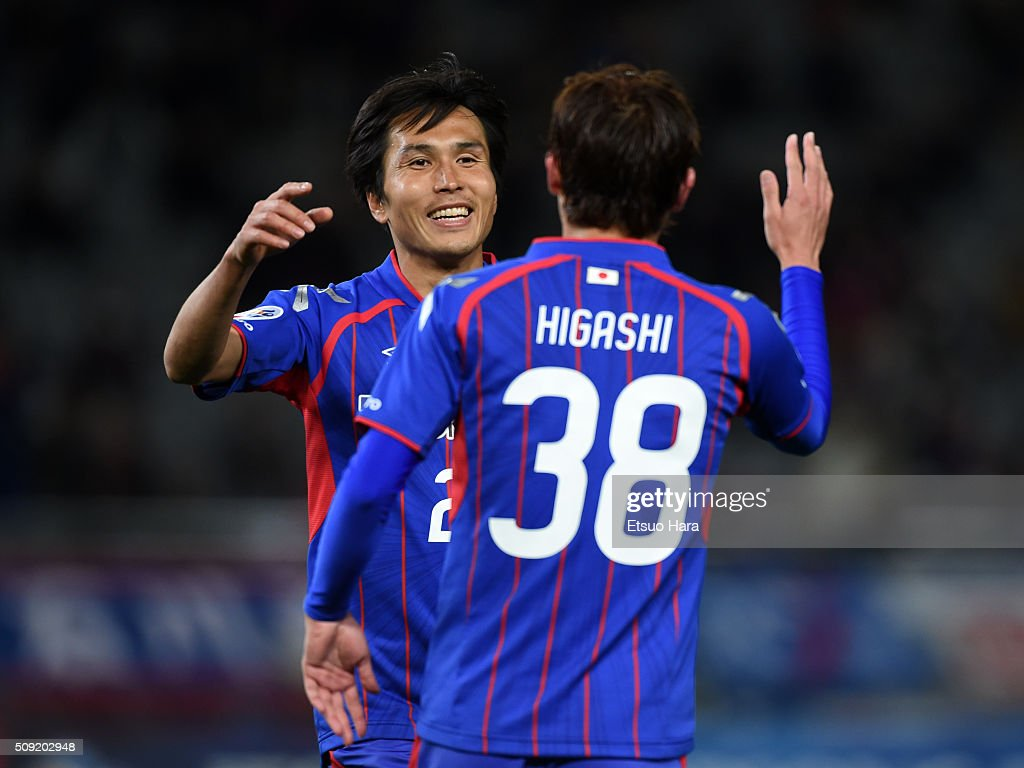 Ryoichi Maeda of FC Tokyo celebrates scoring his team's fourth goal during the AFC Champions League playoff round match between FC Tokyo and Chonburi FC at the Tokyo Stadium on February 9, 2016 in Chofu, Japan.