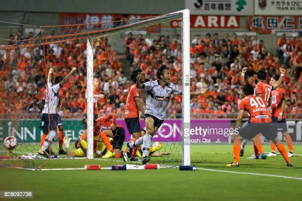 Ryoichi Maeda of FC Tokyo celebrates scoring the opening goal during the JLeague J1 match between Omiya Ardija and FC Tokyo at NACK 5 Stadium Omiya...