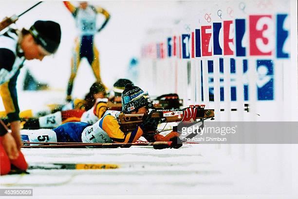 Ryoko Takahashi of Japan competes in the Biathlon Women's 15km during the Nagano Olympic on February 9 1998 in Nozawaonsen Nagano Japan