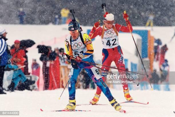 Ryoko Takahashi of Japan competes in the Biathlon Women's Individual during day two of the Nagano Winter Olympic Games at Nozawa Onsen Snow Resort on...