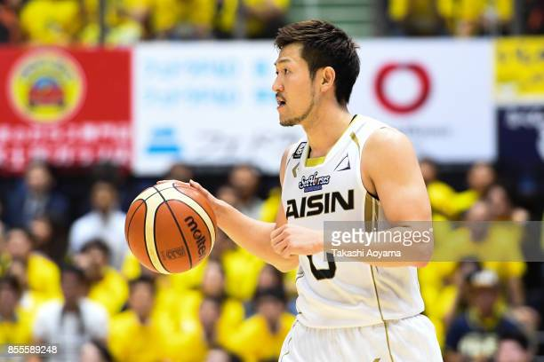 Ryoma Hashimoto of the SeaHorse Mikawa dribbles the ball during the BLeague game between Tochigi Brex and Seahorses Mikawa at Brex Arena Utsunomiya...