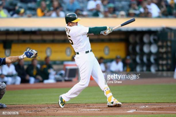 Ryon Healy of the Oakland Athletics bats against the Tampa Bay Rays at Oakland Alameda Coliseum on July 18 2017 in Oakland California