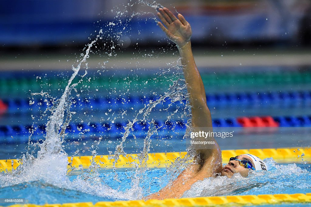 Ryosuke Irie of Japan competes in Men's 200m Backstroke final during the FINA Swimming World Cup 2015 at Tokyo Tatsumi International Swimming Pool on...