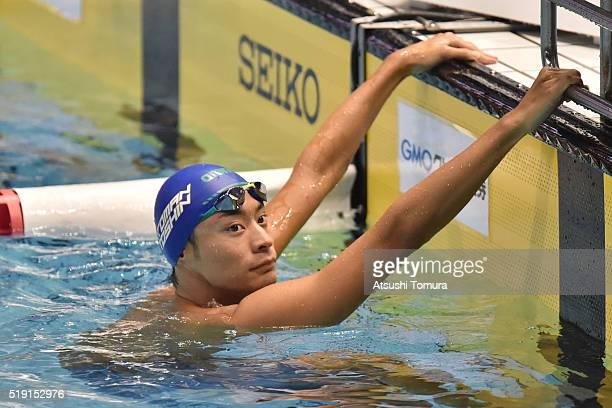 Ryosuke Irie of Japan competes in the Men's 100m Backstroke preliminaries during the Japan Swim 2016 at Tokyo Tatsumi International Swimming Pool on...