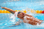 Ryosuke Irie of Japan competes in the Men's 200m Backstroke heats on day thirteen of the 16th FINA World Championships at the Kazan Arena on August 6...