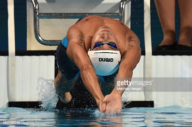 Ryosuke Irie of Japan competes in the Men's 200m Backstroke Semifinals on day thirteen of the 16th FINA World Championships at the Kazan Arena on...
