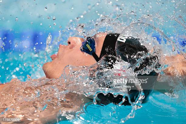 Ryosuke Irie of Japan competes in the Swimming Men's Medley 4x100m Relay Final on day sixteen of the 15th FINA World Championships at Palau Sant...