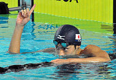 MONACO Ryosuke Irie raises his finger after winning the men's 200meter backstroke at the Mare Nostrum Grand Prix series in Monaco on June 12 with a...