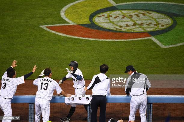 Ryosuke Kikuchi of Japan celebrates his gametying home run with teammates in the six inning during the Game 2 of the Championship Round of the 2017...