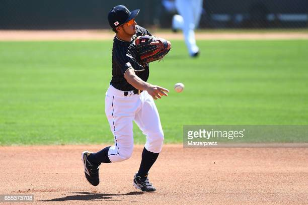 Ryosuke Kikuchi of Japan in action during the exhibition game between Japan and Los Angeles Dodgers at Camelback Ranch on March 19 2017 in Glendale...