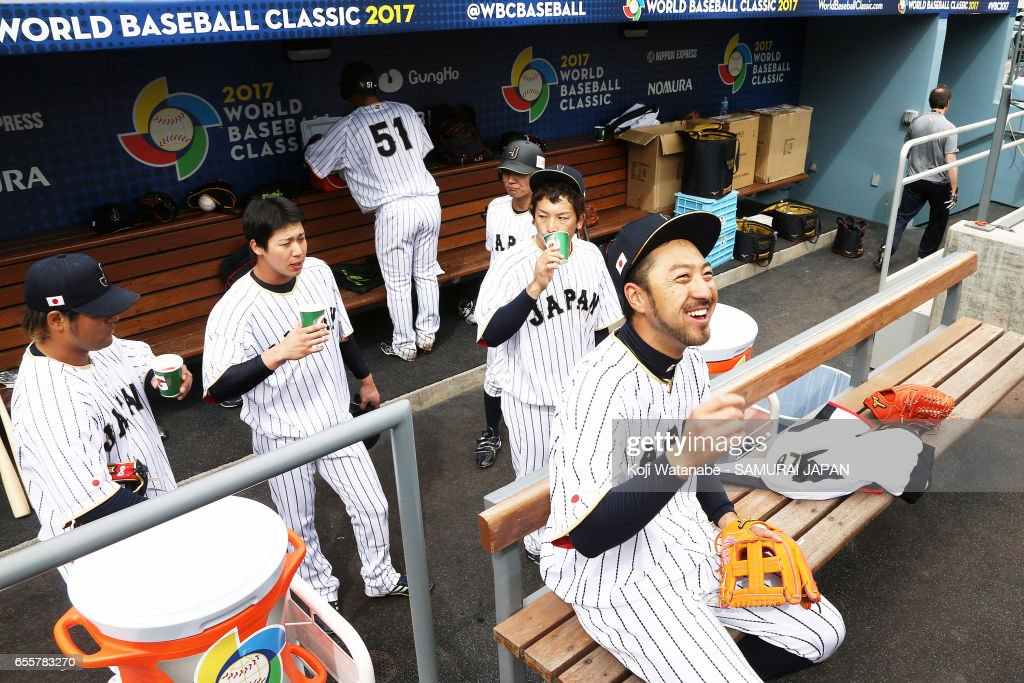 Ryosuke Kikuchi #4 of Japan looks on during a training session ahead of the World Baseball Classic Championship Round at Dodger Stadium on March 20, 2017 in Los Angeles, California.