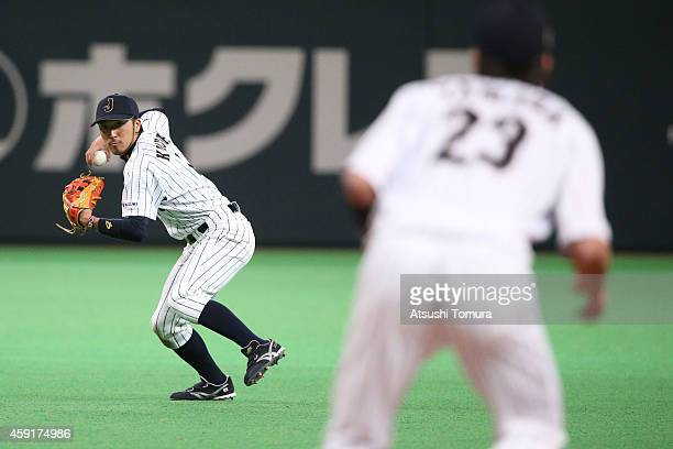 Ryosuke Kikuchi of Samurai Japan in action in the nineth inning during the game five of Samurai Japan and MLB All Stars at Sapporo Dome on November...