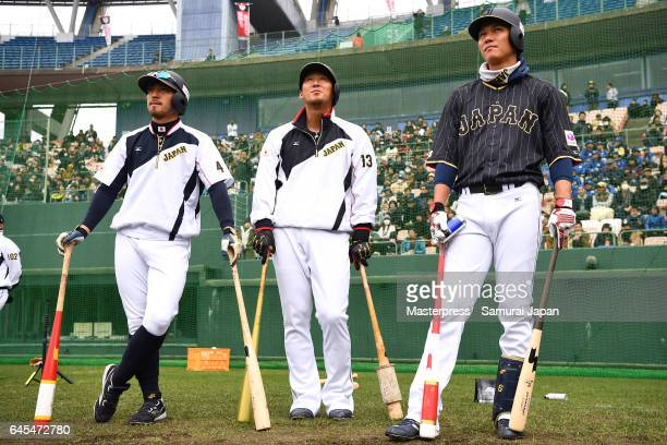 Ryosuke Kikuchi Sho Nakata and Hayato Sakamoto of Japan look on during SAMURAI JAPAN's training camp at the Sun Marine Stadium Miyazaki on February...