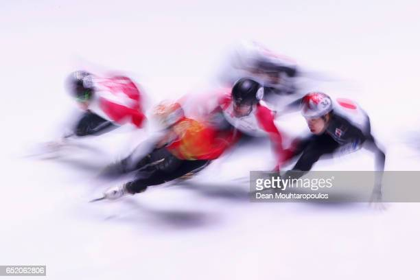 Ryosuke Sakazume of Japan competes in the 1500m B Mens Final at ISU World Short track Speed Skating Championships held at the Ahoy on March 11 2017...