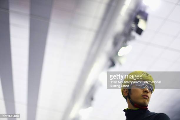 Ryosuke Tsuchiya of Japan gets ready to compete in the mens Mass Start on day two during the ISU World Cup Speed Skating held at Thialf on November...
