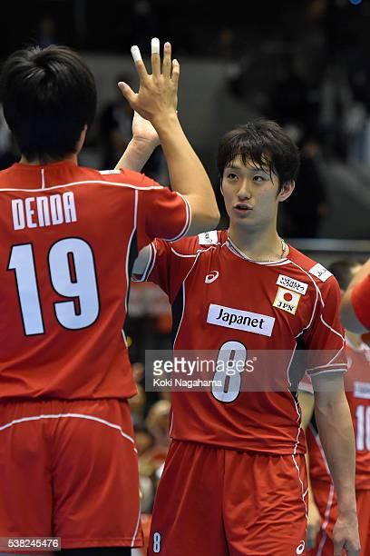 Ryota Denda and Masahiro Yanagida of Japan highfive after winning the Men's World Olympic Qualification game between France and Japan at Tokyo...